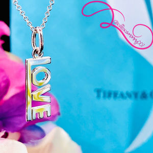 NWOT Tiffany & Co. Sterling LOVE Charm Pendant 16""